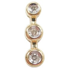 Diamond .06 ctw Past, Present and Future Pendant 10k Gold Two-Tone