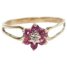 Vintage Petite Natural Ruby and Diamond .28 ctw Flower Ring 10k Gold