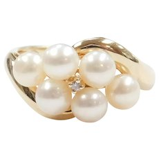 Cultured Pearl and Diamond .015 Carat Ring 10k Gold