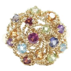 Colorful Gemstone 1.39 ctw Bohemian Cluster Ring 10k Gold ~ Pink Tourmaline, Amethyst, Tanzanite, Blue Topaz, Peridot, Garnet, Citrine