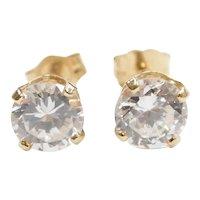 Faux Diamond 1.64 ctw Stud Earrings 14k Gold