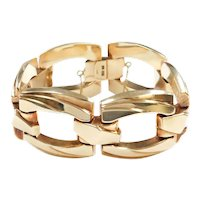 "WIDE Chunky Hollow Link Fashion Bracelet 14k Gold 7 3/4"" Length, 57.9 Grams"