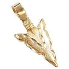 14k Gold Arrowhead Pendant