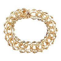 "Vintage Double Link Charm Bracelet 7 1/2"" Length, 38.3 Grams"