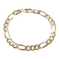 """Gents Solid 3:1 Figaro Link Bracelet 14k Gold 8 1/2"""" Length, 20.9 Grams ~ Men's"""