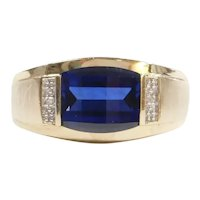 Gents Created Sapphire and Diamond 2.76 ctw Ring 10k Gold Two-Tone ~ Men's