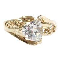 Aquamarine .95 Carat Filigree Ring 10k Gold