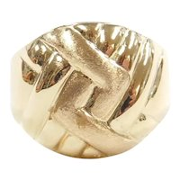 Domed Woven Top Ring 14k Gold
