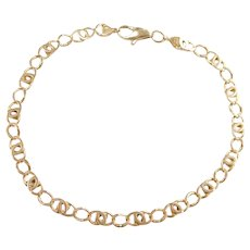 "Fancy Link Bracelet 14k Gold 7 3/4"" Length, 5.7 Grams"