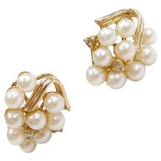 14k Gold Cultured Pearl and Diamond Grape Cluster Stud Earrings