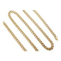 "Hollow Curb / Miami Cuban Link Chain 18k Gold 16 3/4"" Length, 8.4 Grams"