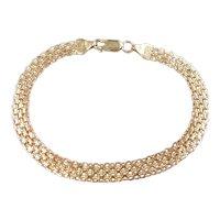 """Woven Link Bracelet 14k Gold 7 1/4"""" Length, 4.1 Grams"""
