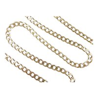 """Solid Curb Link Necklace 14k Gold 21 3/4"""" Length, 27.9 Grams"""