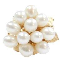 Vintage Cultured Pearl Cluster Leaf Ring 14k Gold