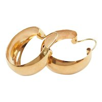 Tapered Hoop Earrings 18k Gold