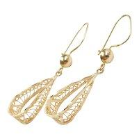 Filigree Dangle Earrings 14k Gold