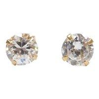 Faux Diamond 1.70 ctw Stud Earrings 14k Gold