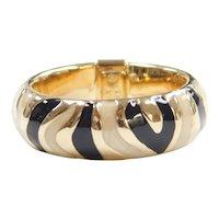 Black and White/Cream Enamel Band Ring 14k Gold
