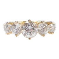 Faux Diamond 1.92 ctw Five Stone Band Ring 14k Gold