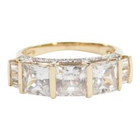 Faux Diamond 3.81 ctw Fashion Band Ring 14k Gold