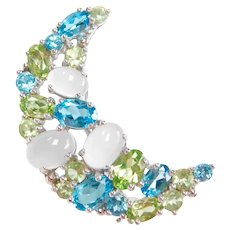 Moonstone, Swiss Blue Topaz and Peridot 5.99 ctw Crescent Moon Pin / Brooch 10k White Gold