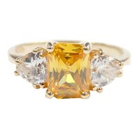 Canary Yellow and White Faux Diamond 2.65 ctw Ring 10k Gold