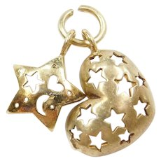 14k Gold Heart and Star Charm Pendant