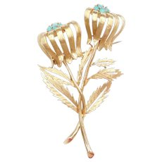 Big 14k Gold Persian Turquoise Flower Pin / Brooch