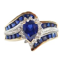 Created Sapphire and Diamond 1.88 ctw Ring 10k Gold Two-Tone