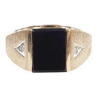 Gents Black Onyx and Diamond .01 ctw Ring 10k Gold Two-Tone ~ Men's
