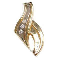 14k Gold Diamond Freeform Two-Tone Pendant