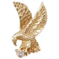 14k Gold Diamond Bald Eagle Pendant