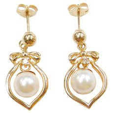 14k Gold Cultured Pearl and Diamond Dangle Earrings