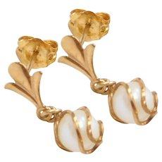14k Gold Dainty Cultured Pearl Drop Earrings