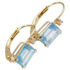 14k Gold Blue Topaz and Diamond Earrings