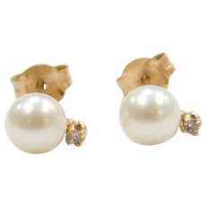 14k Gold Cultured Pearl and Diamond Stud Earrings