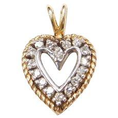 .16 ctw Diamond Heart Pendant 14k Gold Two-Tone