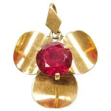 20k Baht Gold Created Ruby Three Leaf Clover Flower Pendant