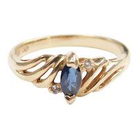 Sapphire and Diamond .26 ctw Ring 10k Gold