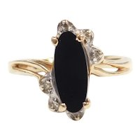 Onyx and Diamond .03 ctw Ring 10k Gold Two-Tone
