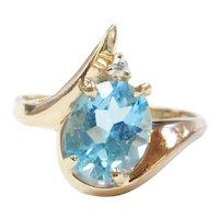 Swiss Blue Topaz and Diamond 3.625 ctw Ring 10k Gold