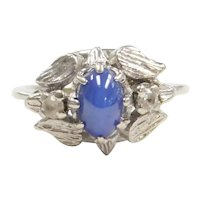 Vintage Created Blue Star Sapphire and White Spinel .67 ctw Ring 10k White Gold