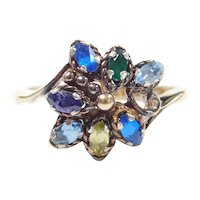 Colorful Gemstone .84 ctw Flower Ring 10k Gold ~ Green Quartz, Purple Sapphire, Yellow and Blue Spinel