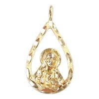 Religious Jesus Christ Teardrop Pendant 14k Gold