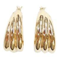 Triple Row Hoop Earrings 18k Gold
