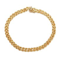 "Double Row Rope Bracelet 18k Gold 8"" Length, 5.9 Grams"