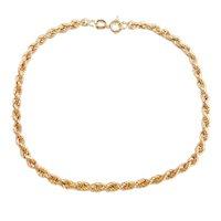 """Hollow Rope Bracelet 14k Gold 7 1/4"""" Length, 1.4 Grams"""