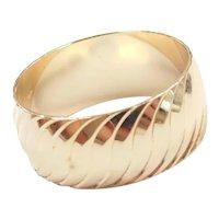 Wide Diamond Cut Wedding Band Ring 14k Gold