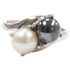 Cultured Pearl and Hematite Bead Bypass Ring 10k White Gold