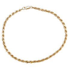 "10 1/2"" 14k Gold Diamond Cut Rope Anklet"